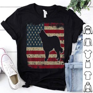 Newfie Dog America Flag Patriotic Dog Lover Gift Shirt