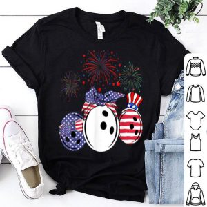 Red White Blue Bowling USA Flag Firework 4th Of July shirt