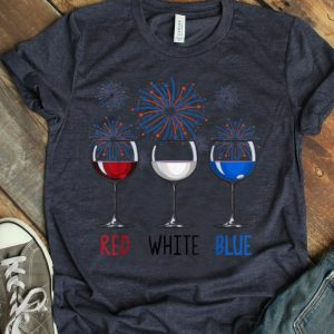 Red White Blue Wine Glasses Usa Firework 4th Of July shirt