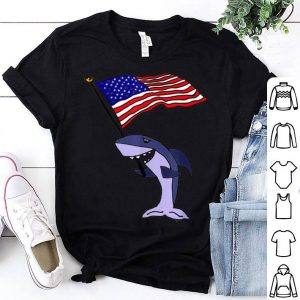 SmilesHol Shark with American Flag shirt