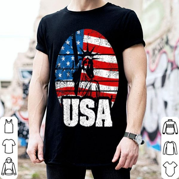Vintage 4th of July Statue of Liberty American Flag shirt