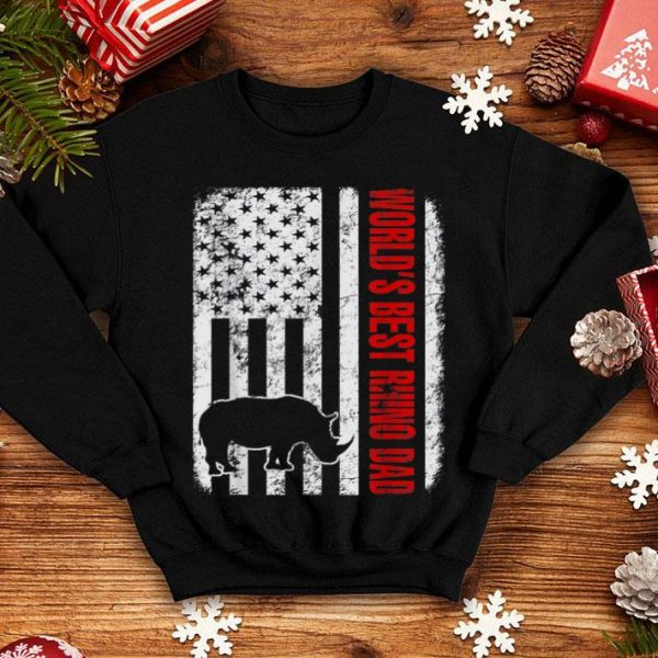 World's Best Rhino Dad American Flag shirt