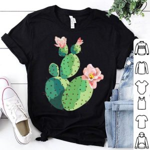 Beautiful Cactus Tree Pink Flowers Hand Drawn Painting shirt