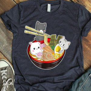 Kawaii Japanese Anime Cat Bowl Ramen Noodle shirt