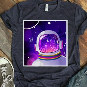 Purple Outer Space Exploration - Astronaut Helmet Reflection shirt