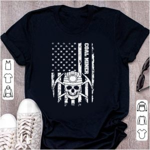 Awesome Coal Miner American Flag Skull shirt