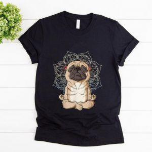 Awesome Pug Yoga Spiritual Meditation Mandala Let It Be shirt