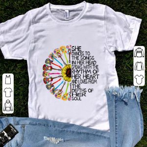 Awesome She Dance To The Song In Her Head Speaks With The Rhythm Of Heart Heart Guitar Hippie Sunflower shirt