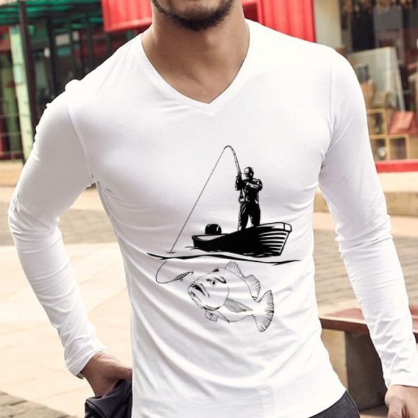 Bass Fisherman Fishing With Boat shirt
