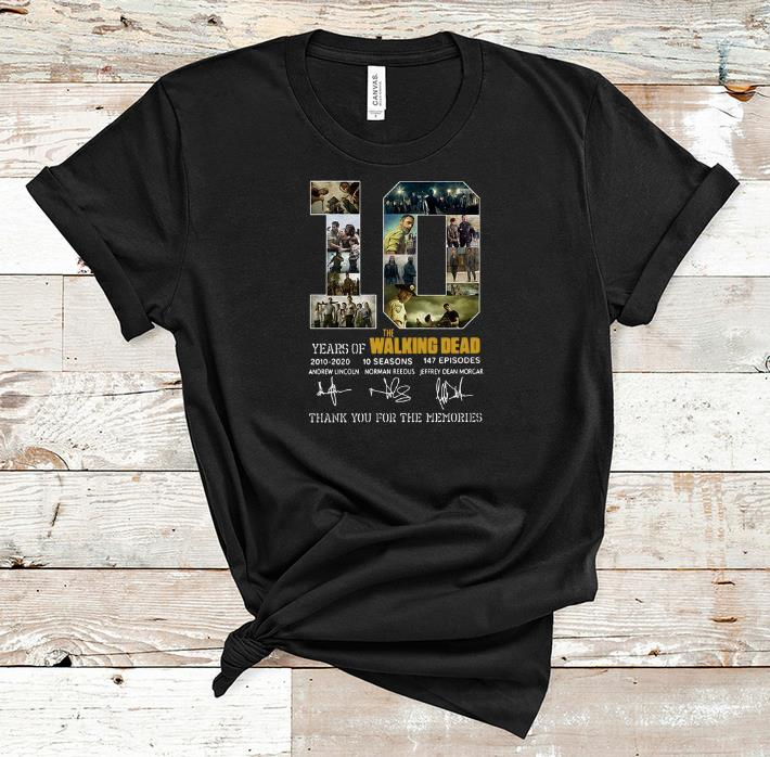 Official 10 Years Of The Walking Dead Thank You For The Memories Signature shirt 1 - Official 10 Years Of The Walking Dead Thank You For The Memories Signature shirt