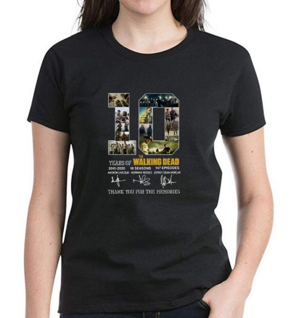Official 10 Years Of The Walking Dead Thank You For The Memories Signature shirt