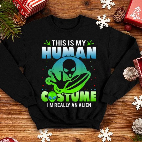 Official Alien Head Human Costume Alien Humor Halloween shirt