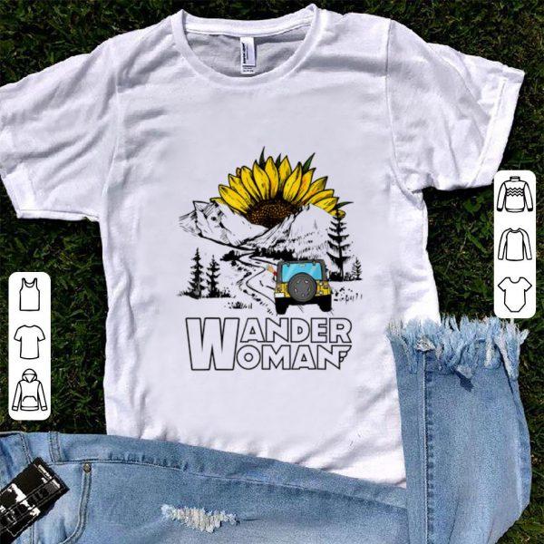 Official Wander Women Jeep Camping Mountain Sunflower shirt
