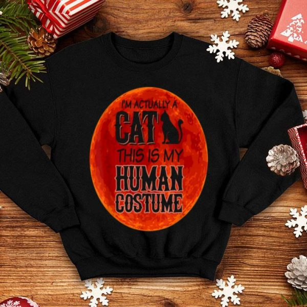 Original A Cat This Is My Human Costume Halloween Red Moon Gift shirt