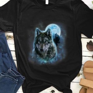 Premium Grey Wolf Hunting Ground Icy Moon Forest Galaxy shirt