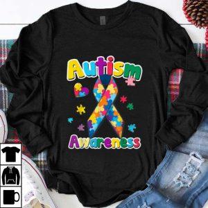 Pretty Ribbon Puzzle Pieces Colors Autism Awareness shirt