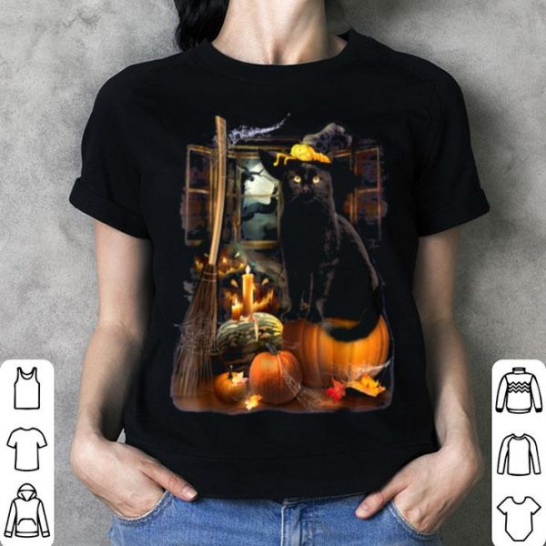 Top Black Cat Beauty Witch Pumpkin Happy Halloween shirt