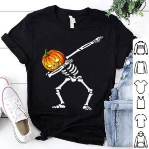 Top Dabbing Pumpkin Skeleton Funny Halloween Gift shirt
