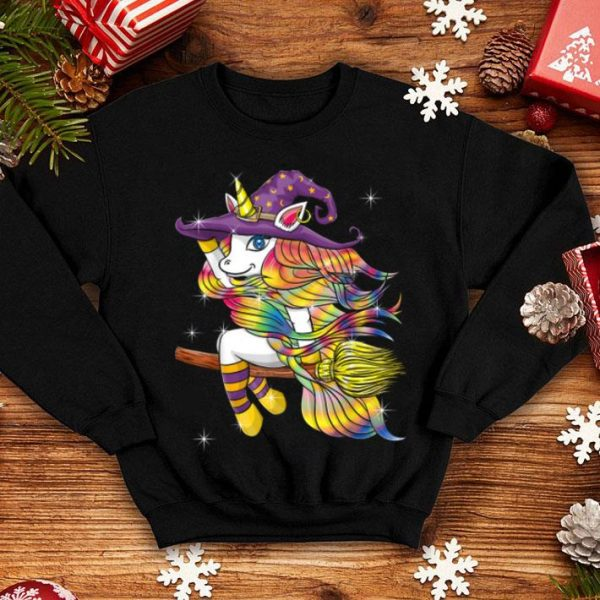 Top Halloween Outfit Gift - Flying Unicorn Witch shirt
