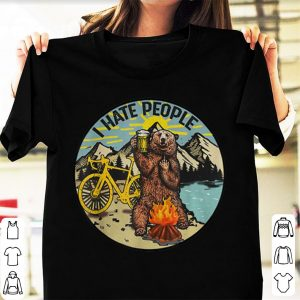 Top I Hate People Cyling Bear Drinking Beer Camping Fire shirt