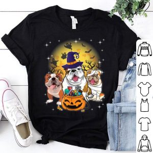 Awesome English Bulldog Mummy Witch Moon Ghosts Pumpkin Candy shirt