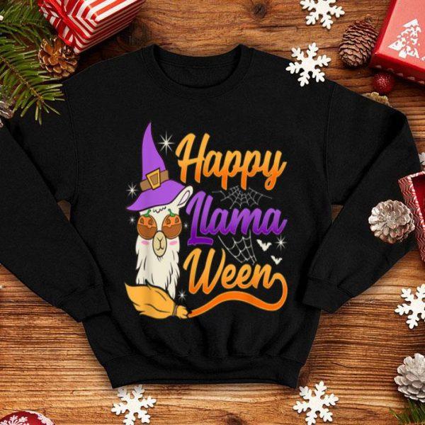 Awesome Llama Halloween Happy Llama Ween Alpaca Witch shirt