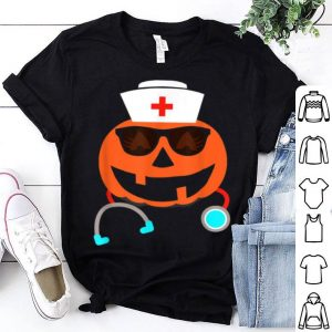 Beautiful Nurse Halloween Jackolantern Pumpkin Eyelashes Smiling Face shirt