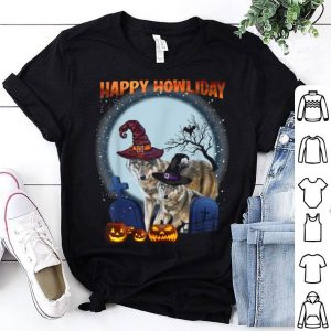 Happy Howliday Wolf Loves Pumpkins Halloween Funny shirt