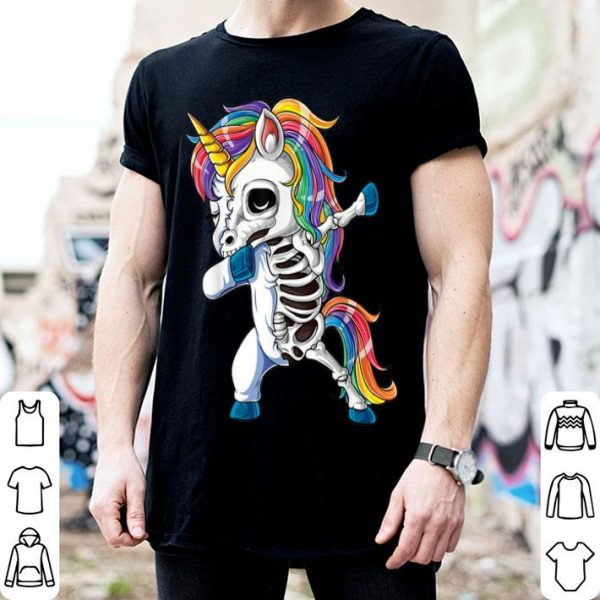 Nice Dabbing Unicorn Skeleton Halloween Girls Dab Gifts shirt
