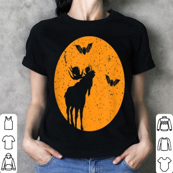 Nice Full Moon Bats Moose Tee. Funny Halloween Moose Gift shirt