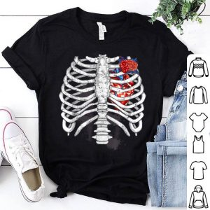 Original Halloween Skeleton Rib Cage Heart And Flower Design shirt