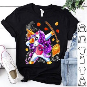 Premium Dabbing Unicorn Halloween Witch Costume Broomstick Girl Gift shirt