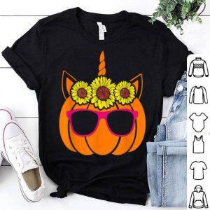 Top Cute Unicorn Pumpkin Sunflower For Woman Who Loves Halloween shirt