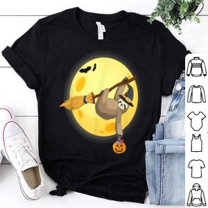 Top Funny Sloth On Witches Broom Halloween shirt