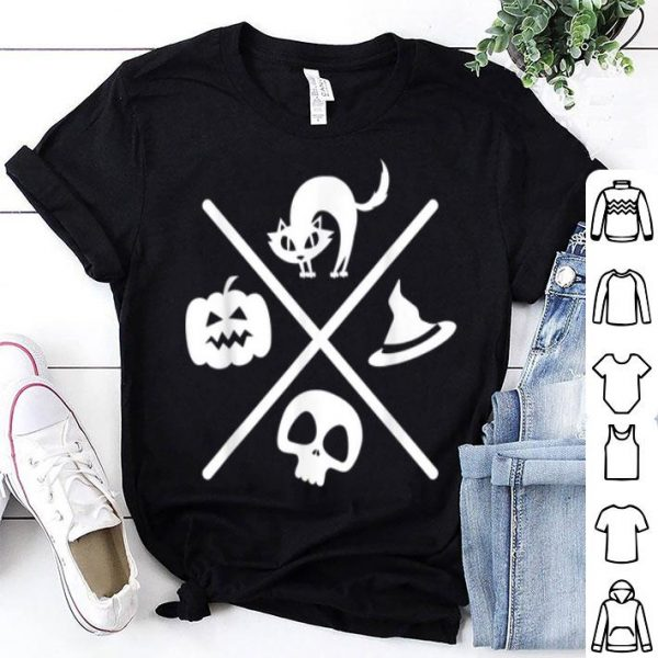 Top Halloween Black Cat Witch Skeleton Pumpkin X Design shirt