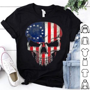 Beautiful Betsy Ross American Flag Halloween Reaper Military Skull shirt