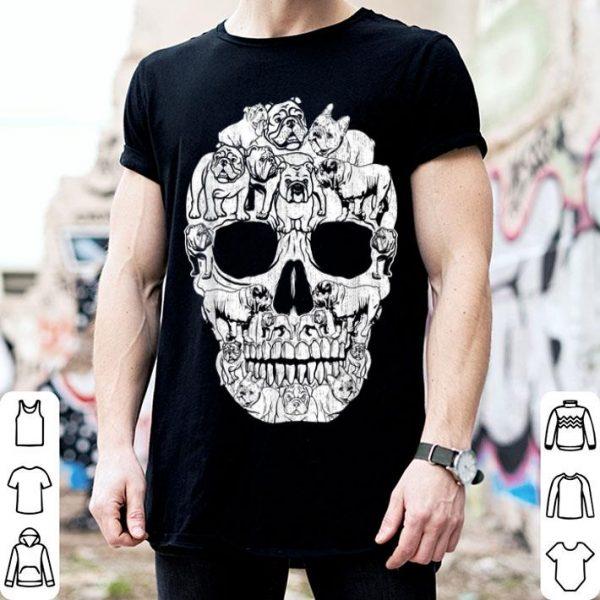 Hot English Bulldog Dog Skull Halloween Costumes Gift shirt