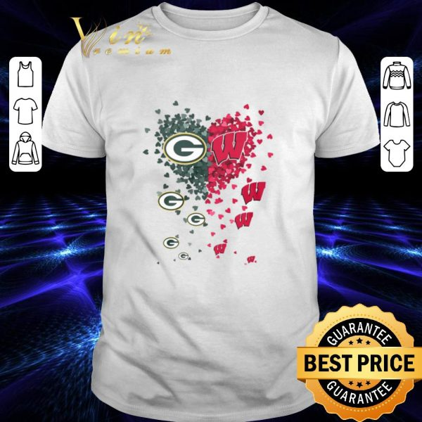 Hot Love Green Bay Packers Wisconsin Badgers Tiny Hearts Shape shirt