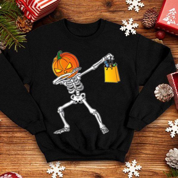 Nice Funny Halloween For Boys Kids Dabbing Skeleton Pumpkin shirt