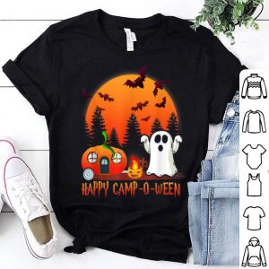 Nice Happy Camp-O-Ween Funny Pumpkin Boo Moon Halloween Camping shirt