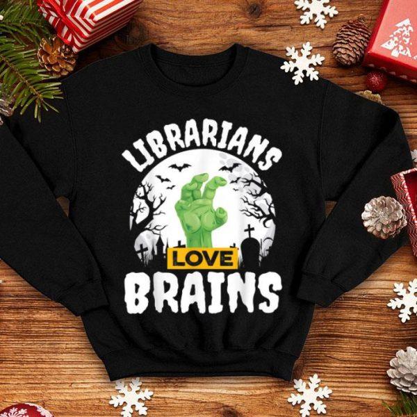 Official Halloween Teacher Gift Funny Librarians Love Brains shirt
