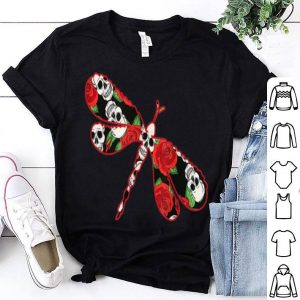 Premium Dragonfly Skull And Rose Halloween Dragonfly Lover shirt
