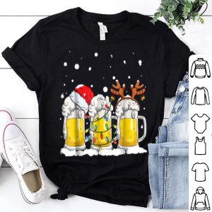 Awesome Beer Christmas Mug Men Santa Reinbeer Xmas lights Gift shirt