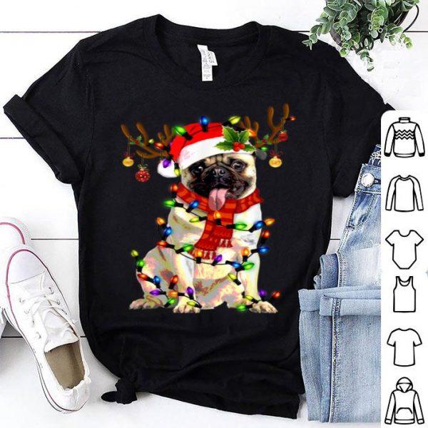 Beautiful Funny Pug Dog Christmas Tee Reindeer Christmas Lights Pajama shirt