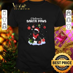 Cool Pug I believe in Santa Paws Christmas shirt