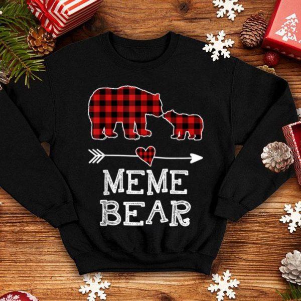 Hot Meme Bear Christmas Pajama Red Plaid Buffalo Family Gift sweater