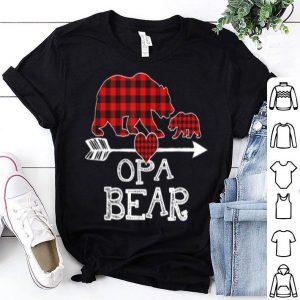 Hot Red Plaid Opa Bear One Cub Matching Buffalo Pajama Xmas shirt