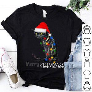 Nice Funny Black Cat Merry Kissmyass X mas Gift sweater