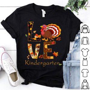 Official LOVE Kindergarten Turkeys Flipflop Teacher Life Thanksgiving shirt