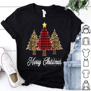 Premium Merry Christmas Shirt Trees Cheetah and Buffalo Check Plaid shirt